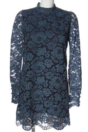 Zara Langarmkleid blau Blumenmuster Casual-Look