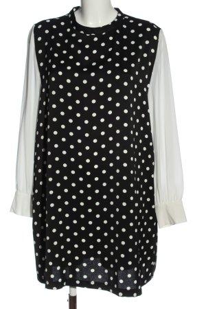 Zara Langarmkleid schwarz-weiß Punktemuster Business-Look