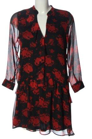 Zara Langarmkleid schwarz-rot Allover-Druck Casual-Look