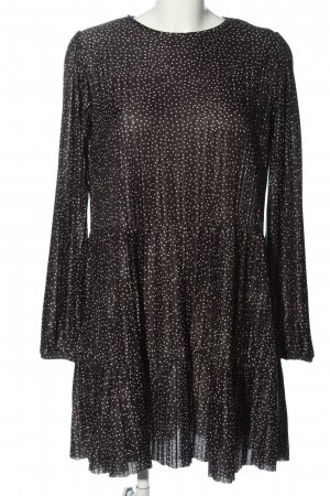 Zara Langarmkleid schwarz-wollweiß Punktemuster Casual-Look