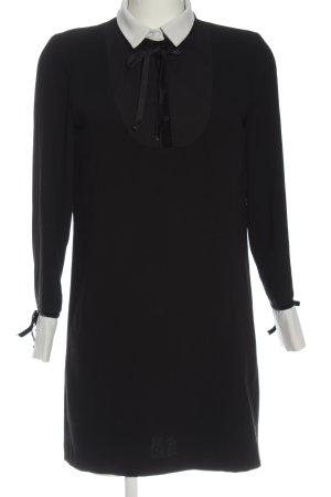 Zara Langarmkleid schwarz-weiß Elegant