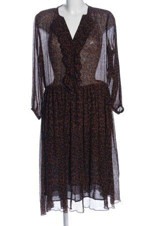 Zara Robe à manches longues brun-noir imprimé allover élégant