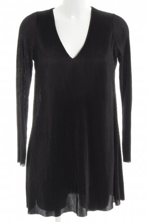 Zara Langarmkleid schwarz Streifenmuster Elegant