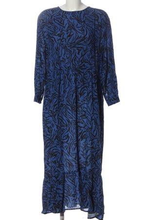Zara Langarmkleid blau-schwarz Allover-Druck Casual-Look