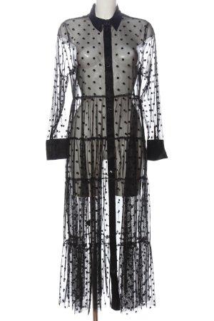 Zara Langarmkleid schwarz Punktemuster Elegant