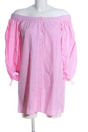 Zara Langarmkleid pink-weiß Streifenmuster Casual-Look