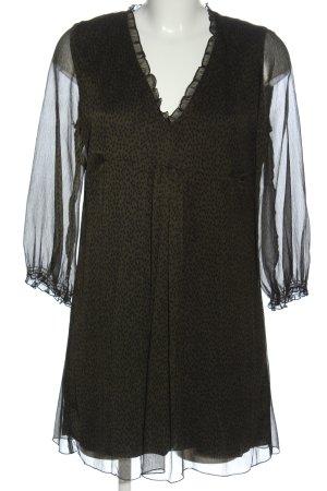 Zara Robe à manches longues noir-kaki imprimé allover style festif