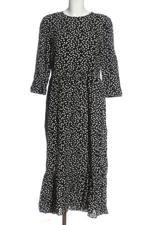 Zara Langarmkleid schwarz-weiß Punktemuster Casual-Look