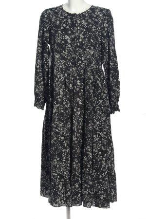 Zara Langarmkleid schwarz-weiß Allover-Druck Elegant