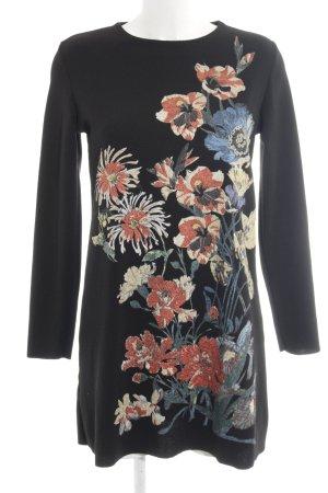Zara Langarmkleid schwarz Blumenmuster Elegant