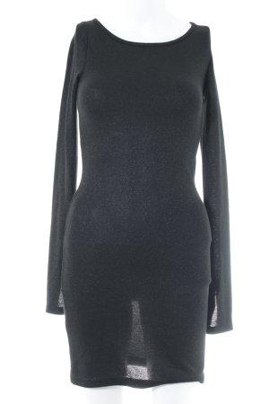 Zara Langarmkleid schwarz-silberfarben Casual-Look