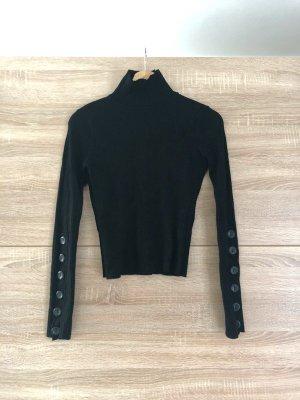 Zara Langarmshirt mit hohen Kragen & Knöpfen, schwarz