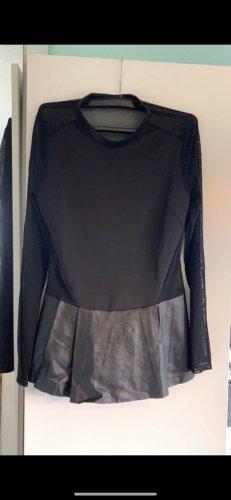 Zara Skórzana bluzka czarny