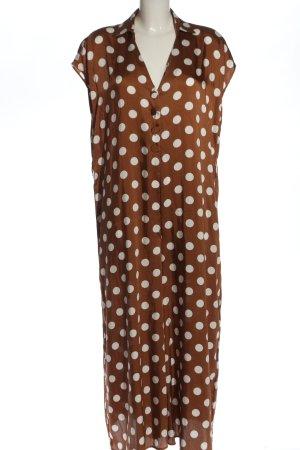 Zara Langer Jumpsuit braun-weiß Allover-Druck Casual-Look