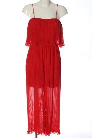 Zara Langer Jumpsuit rot Transparenz-Optik