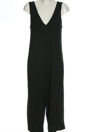 Zara Langer Jumpsuit schwarz Streifenmuster Casual-Look