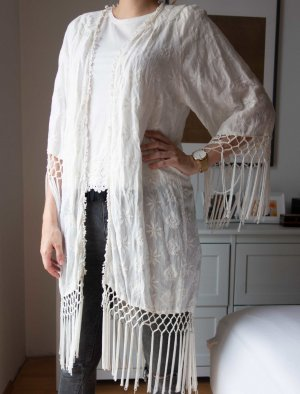 Zara Veste à franges blanc coton
