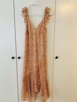 ZARA langes asymmetrisches Sommer Kleid mit Volant