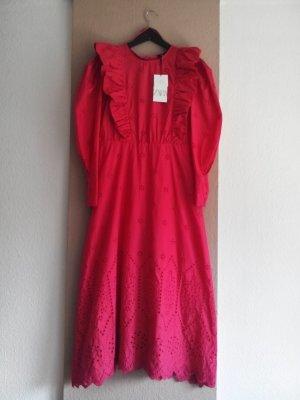 Zara langes Kleid mit Lockstickerei in pink, 100% Baumwolle, Grösse L, neu