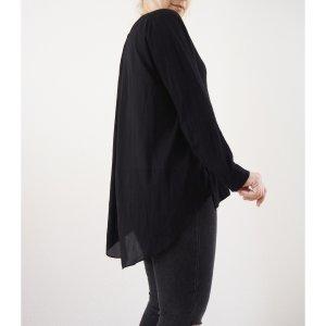 Zara langes oversize Feinstrick Shirt M L 40 42 schwarz Basic Longsleeve Material Mix Vokuhila