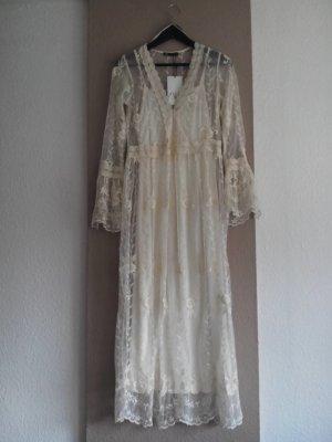 Zara langes Spitzenkleid mit Blumenstickerei, Größe S, neu mit Etikett