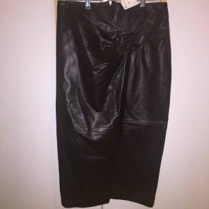 Zara Leather Edition 2020 dunkelbrauner Lederrock mit Knotendetail M NEU m Etikett