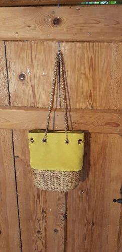 Zara Leder/Bast Tasche gelb