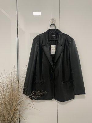 Zara Leather Blazer black