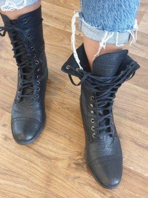 Zara Stivale a gamba corta nero Pelle