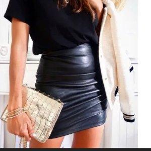Zara Leder Rock Leather High Waist Hochgeschnittene Top