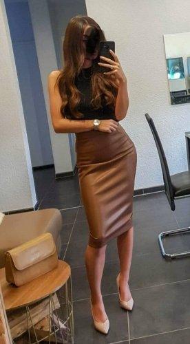Zara Spódnica z imitacji skóry brązowy