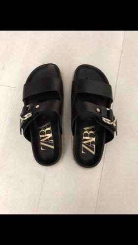 ZARA Leder Sandale Pantoletten schwarz Gr. 38