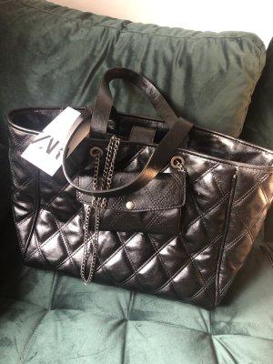 Zara Leder Shopping Bag Tasche gesteppt c h a n e l Style chain Multi funktional pochette
