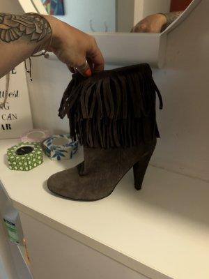 Zara Leder Stiefel Fransen