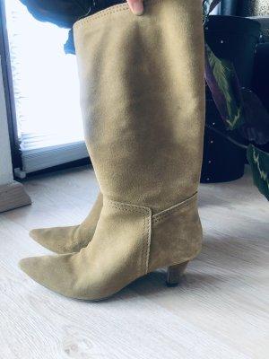 Zara leder Stiefel Gr 39 khaki grün Beige blogger ausverkauft