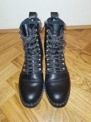 Zara Leder Stiefeletten / Biker Boots