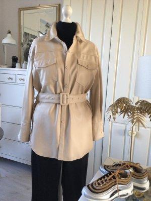 Zara Lederhemd Hemdjacke Oversize beige Gr. M