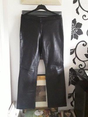 Zara Basic Skórzane spodnie czarny