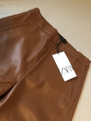 Zara Leather Trousers cognac-coloured-brown
