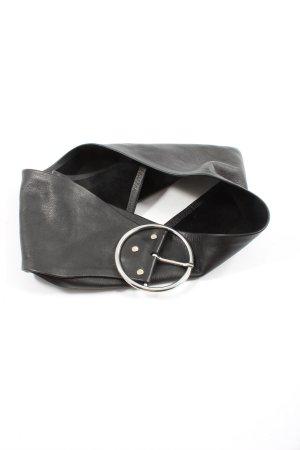 Zara Cinturón de cuero de imitación negro look casual