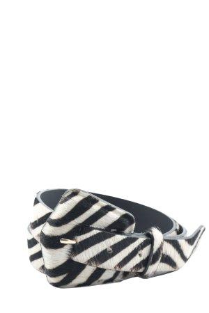 Zara Ceinture en similicuir noir-blanc motif animal style décontracté