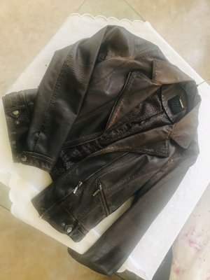 Zara Kurtka typu biker brązowy-ciemnobrązowy