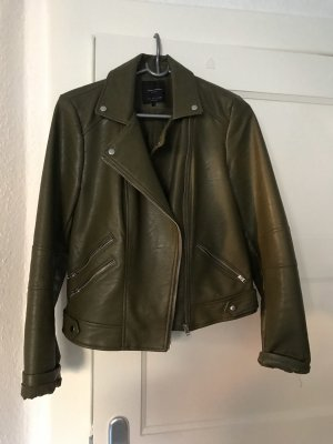 Zara Leather Jacket khaki-green grey