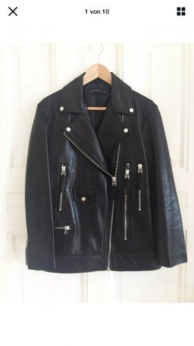 Zara Woman Kurtka typu biker czarny Skóra