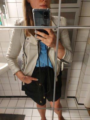 Zara Lederjacke M 38 Cremeweiss Biker Zipper Riemen Echtleder Blogger rar
