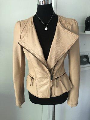 Zara Lederjacke peplum schöschen beige L toll leather top