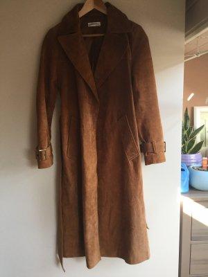 Zara Leather Coat cognac-coloured