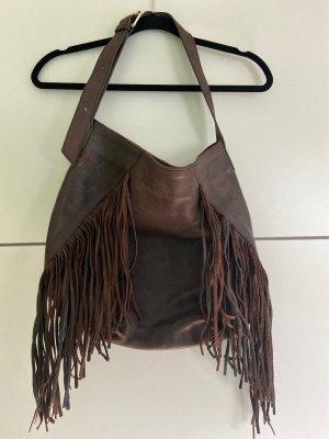 Zara Bolso de flecos marrón oscuro