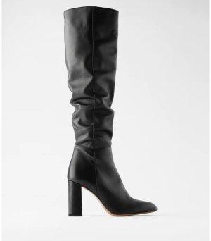 Zara Lederstiefel mit Blockabsatz Gr. 37 schwarz