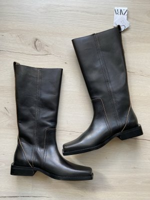 Zara Lederstiefel Schwarz 38 Leder Neu